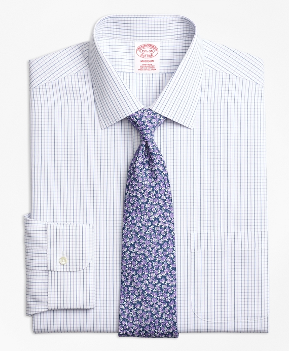 Non-Iron Madison Fit Alternating Windowpane Dress Shirt Purple