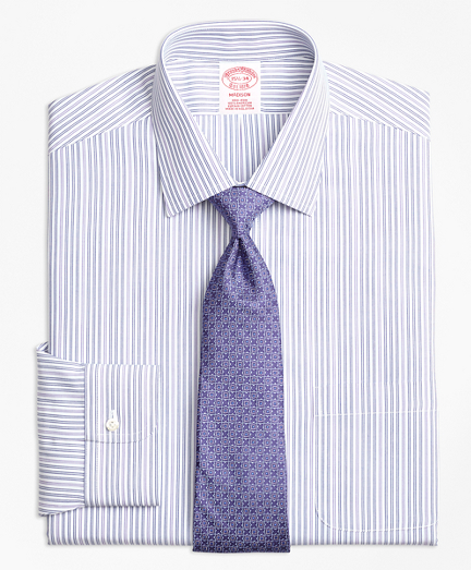 Non-Iron Madison Fit Alternating Double Stripe Dress Shirt