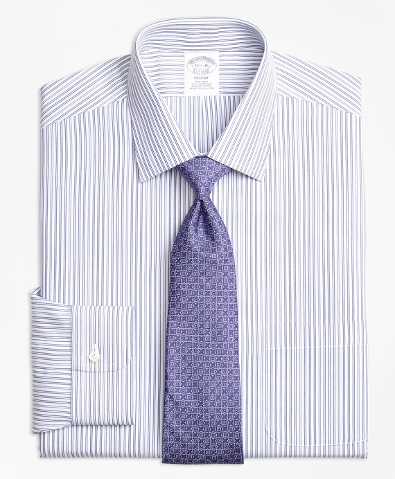 Non-Iron Regent Fit Alternating Double Stripe Dress Shirt Purple
