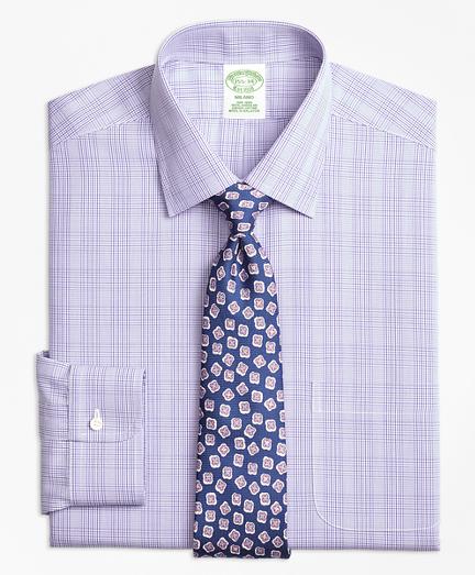 Milano Slim-Fit Dress Shirt, Non-Iron Tonal Plaid