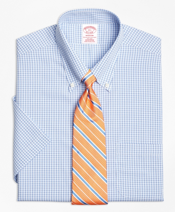 Madison Classic-Fit Dress Shirt, Non-Iron Tonal Sidewheeler Check Short-Sleeve Blue