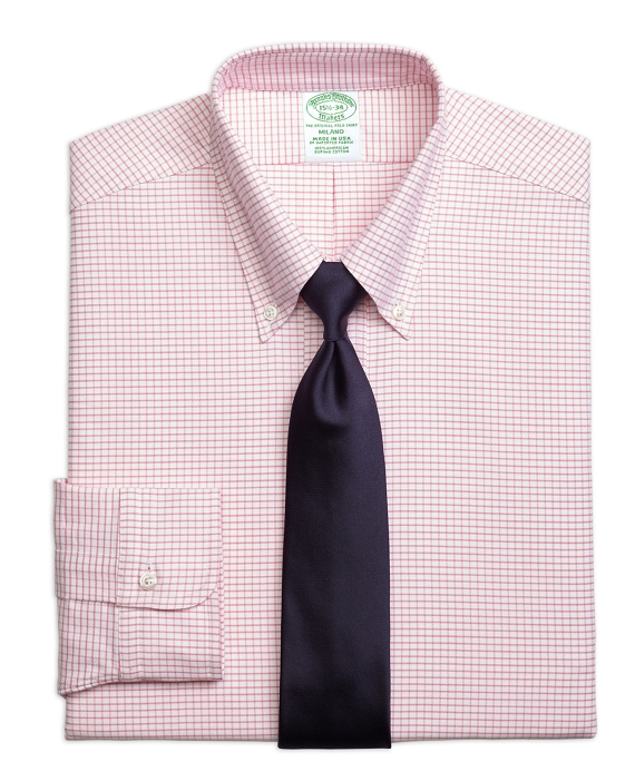 Milano Fit Original Polo® Button-Down Small Windowpane Dress Shirt Pink