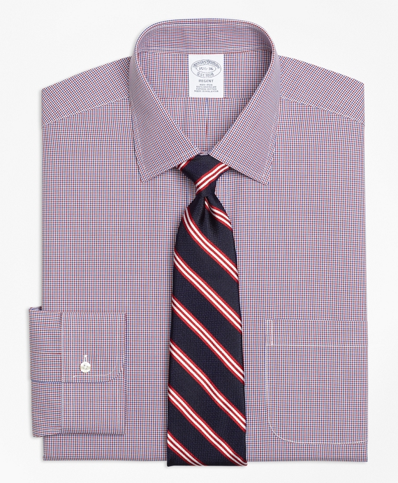 Regent Fitted Dress Shirt, Non-Iron Two-Tone Check Red-Blue