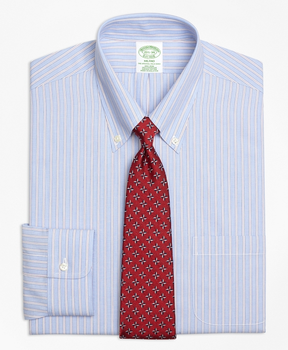 Milano Slim-Fit Dress Shirt, Non-Iron Framed Stripe