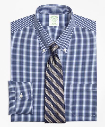 Stretch Milano Slim-Fit Dress Shirt, Non-Iron Ground Check