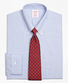 Non-Iron Madison Fit Framed Stripe Dress Shirt