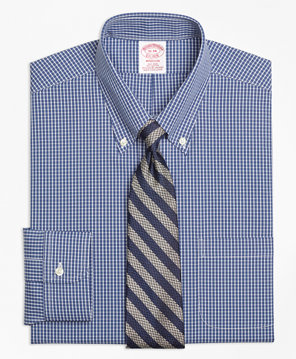 Non-Iron Madison Fit Ground Check Stretch Dress Shirt