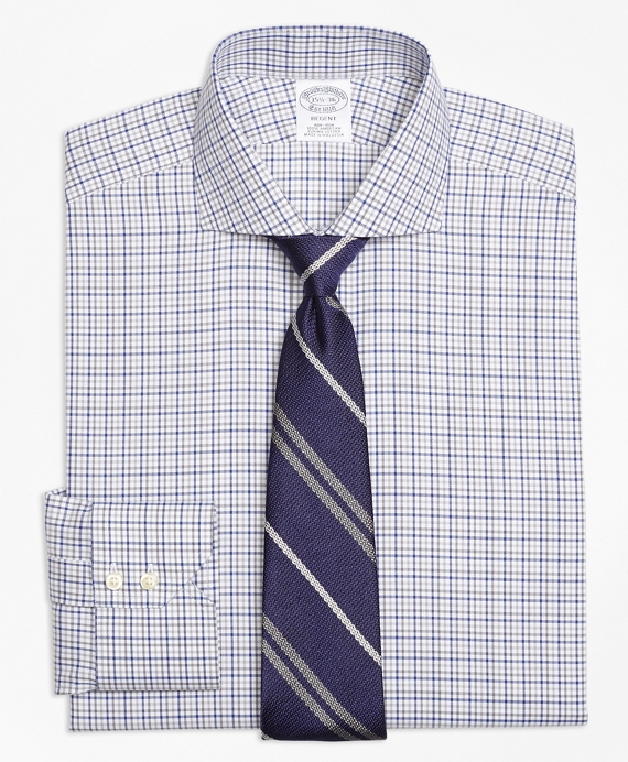 Regent Fitted Dress Shirt, Non-Iron Two-Tone Windowpane Blue-Grey