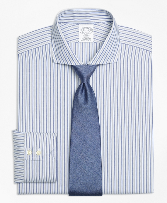 Regent Fitted Dress Shirt, Non-Iron Herringbone Alternating Stripe Grey-Blue
