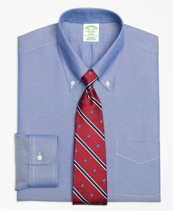 Milano Slim-Fit Dress Shirt, Non-Iron Dobby Blue