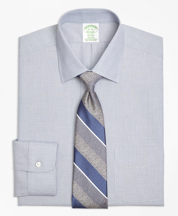 Stretch Milano Slim-Fit Dress Shirt, Non-Iron End-on-End