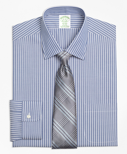 Stretch Milano Slim-Fit Dress Shirt, Non-Iron Ground Stripe