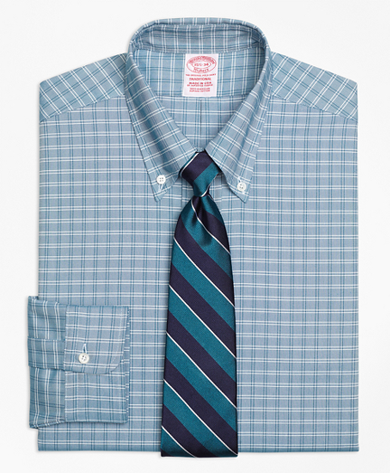 Brooks Brothers Traditional Fit Original Polo Button-Down Oxford Ground Twin Check Dress Shirt