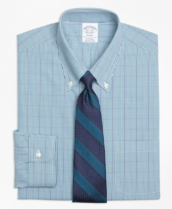 Regent Fitted Dress Shirt, Non-Iron Gingham Green