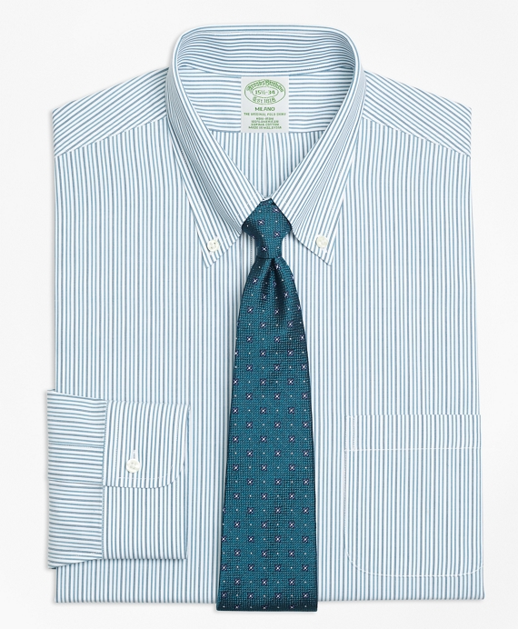 Milano Slim-Fit Dress Shirt, Non-Iron Framed Double Stripe