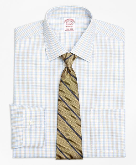 Madison Classic-Fit Dress Shirt, Non-Iron Alternating Check Blue-Yellow
