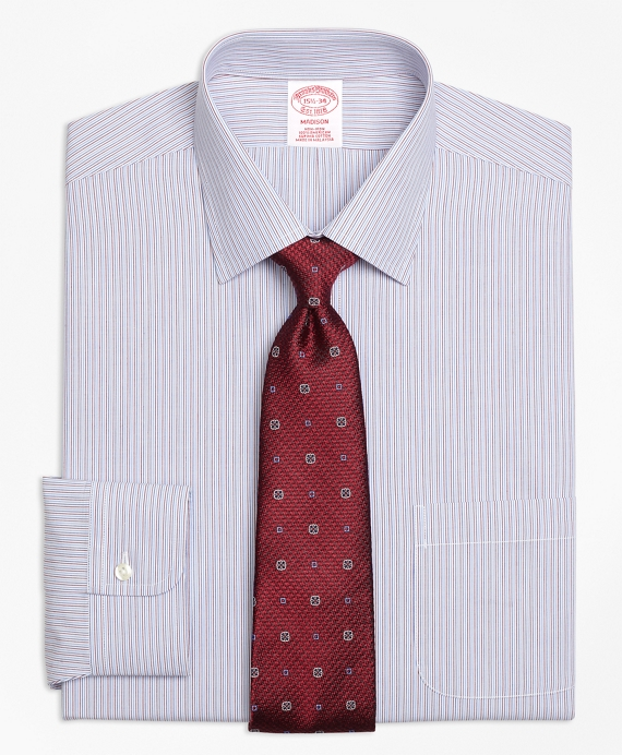 Madison Classic-Fit Dress Shirt, Non-Iron Narrow Stripe Red-Blue