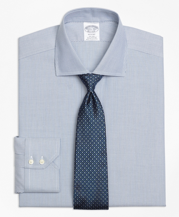 Regent Fitted Dress Shirt, Non-Iron Mini-Stripe Green