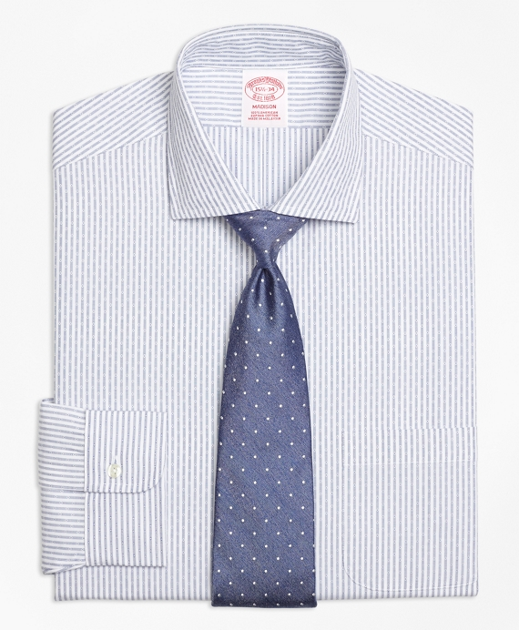 Madison Classic-Fit Dress Shirt, Non-Iron Dobby Candy Stripe Blue