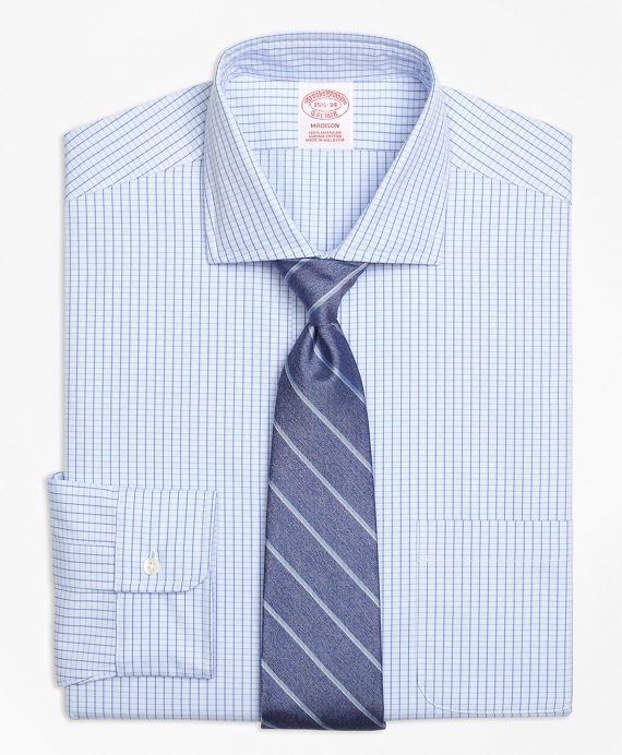 Madison Classic-Fit Dress Shirt, Non-Iron Dobby Windowpane Blue