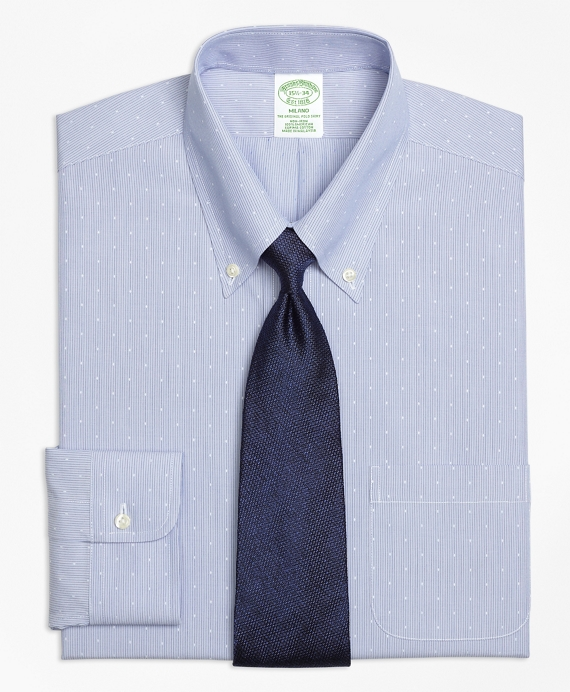 Milano Slim-Fit Dress Shirt, Non-Iron Dobby Hairline Stripe Blue
