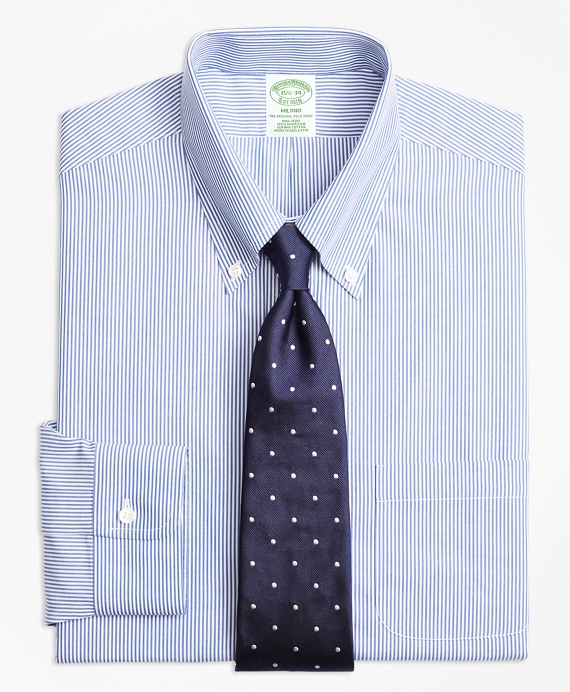 Milano Slim-Fit Dress Shirt, Non-Iron Candy Stripe Blue