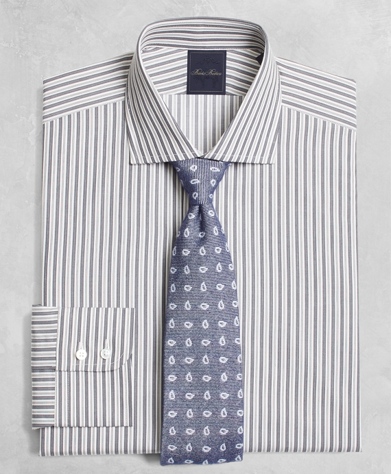 Golden Fleece® Milano Slim-Fit Dress Shirt, English Collar Alternating-Split-Stripe Grey