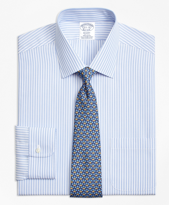 Non-Iron Regent Fit Music Stripe Stretch Dress Shirt Blue