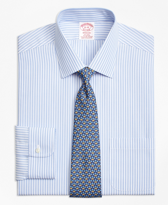 Stripe Stretch Madison Classic-Fit Dress Shirt, Non-Iron Music Blue