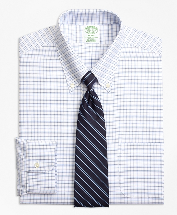 Non-Iron Milano Fit BrooksCool® Triple Windowpane Dress Shirt