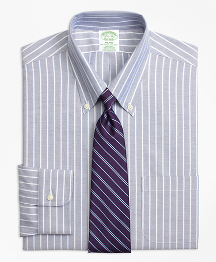 BrooksCool® Milano Slim-Fit Dress Shirt, Non-Iron Ground Shadow Stripe