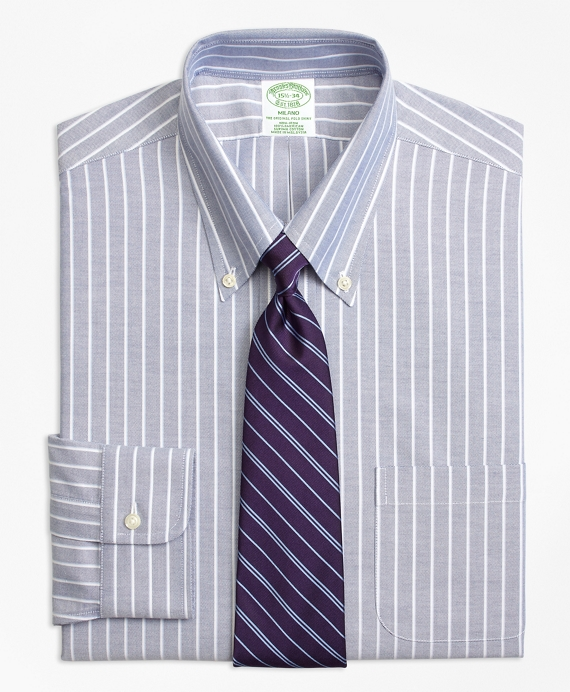 Non-Iron Milano Fit BrooksCool® Ground Shadow Stripe Dress Shirt