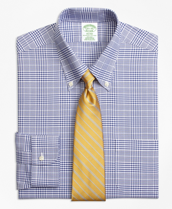 Non-Iron Milano Fit BrooksCool® Plaid with Deco Dress Shirt