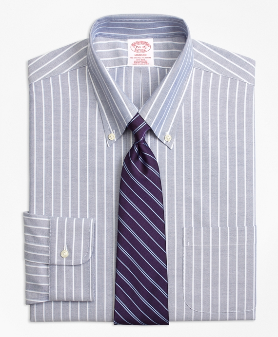 BrooksCool® Madison Classic-Fit Dress Shirt, Non-Iron Ground Shadow Stripe