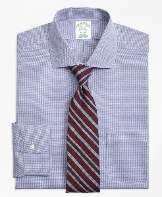 Milano Slim-Fit Dress Shirt, Non-Iron Dobby Diamond Navy