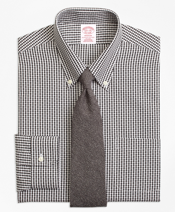 Madison Classic-Fit Dress Shirt, Non-Iron Dobby Gingham Black