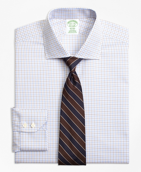 Non-Iron Milano Fit Triple Overcheck Dress Shirt