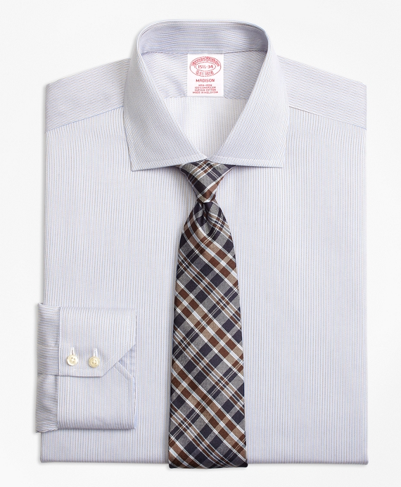 Madison Classic-Fit Dress Shirt, Non-Iron Narrow Stripe Blue-Brown