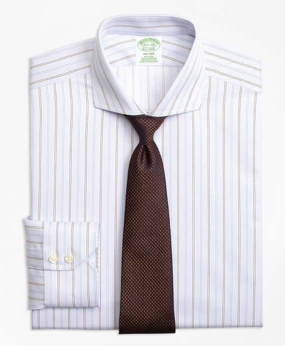 Milano Slim-Fit Dress Shirt, Non-Iron Double Alternating Stripe Blue-Brown