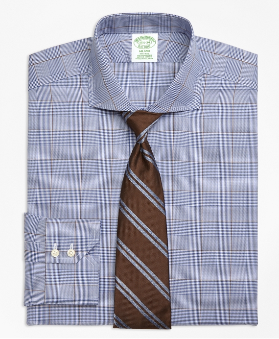 Milano Slim-Fit Dress Shirt, Non-Iron Large Plaid Blue