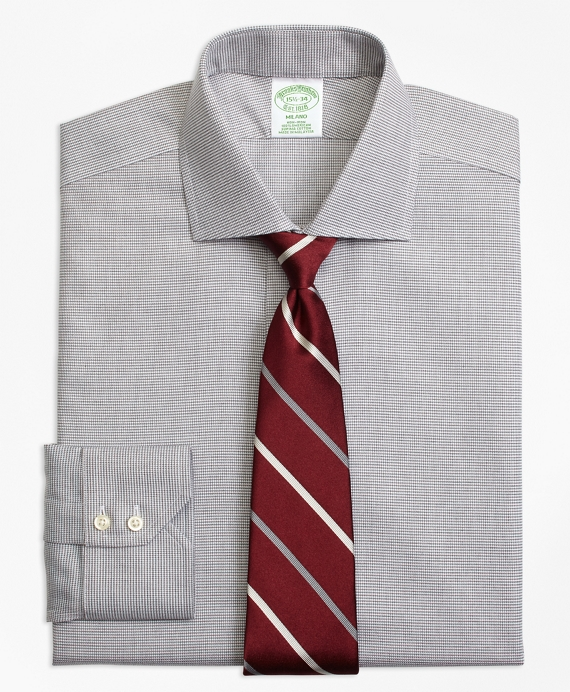 Milano Slim-Fit Dress Shirt, Non-Iron Houndstooth Grey