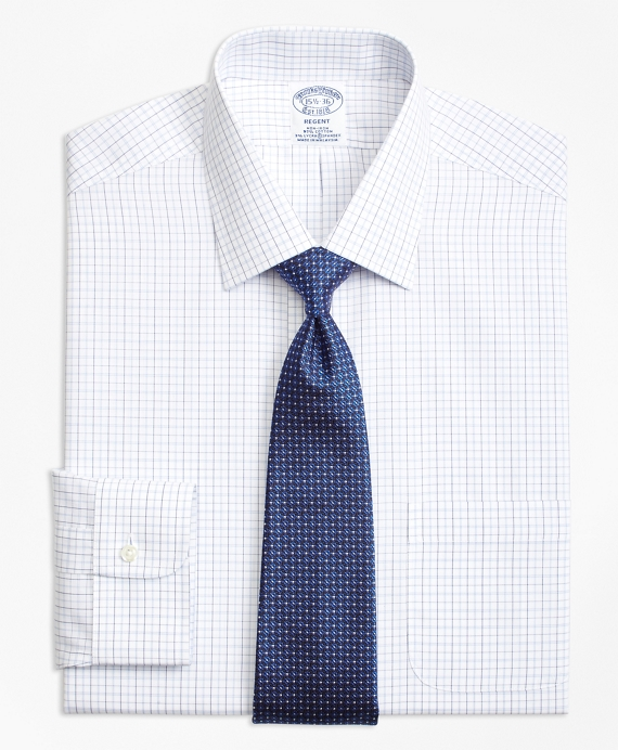 Non-Iron Regent Fit Double Split Windowpane Dress Shirt