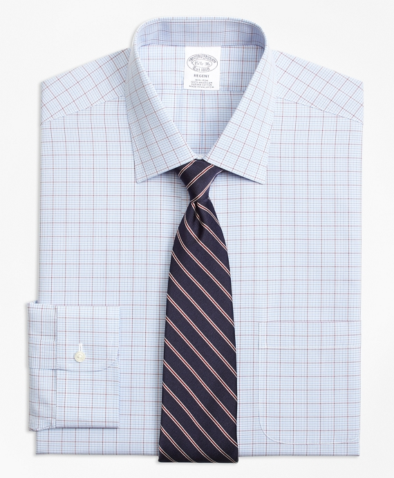 Regent Fitted Dress Shirt, Non-Iron Overcheck Blue
