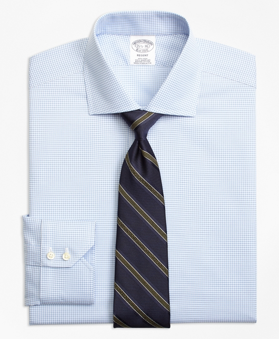 Regent Fitted Dress Shirt, Non-Iron Micro-Check Light Blue