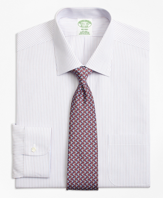 Milano Slim-Fit Dress Shirt, Non-Iron Triple Stripe