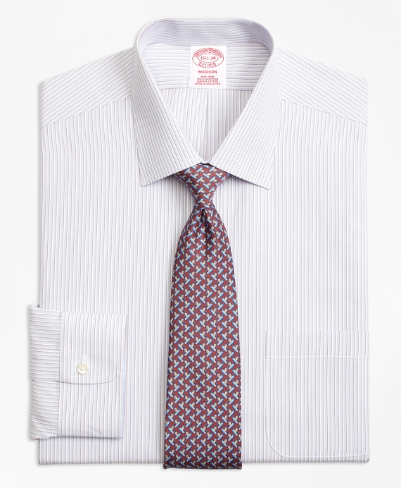 Madison Classic-Fit Dress Shirt, Non-Iron Triple Stripe Burgundy