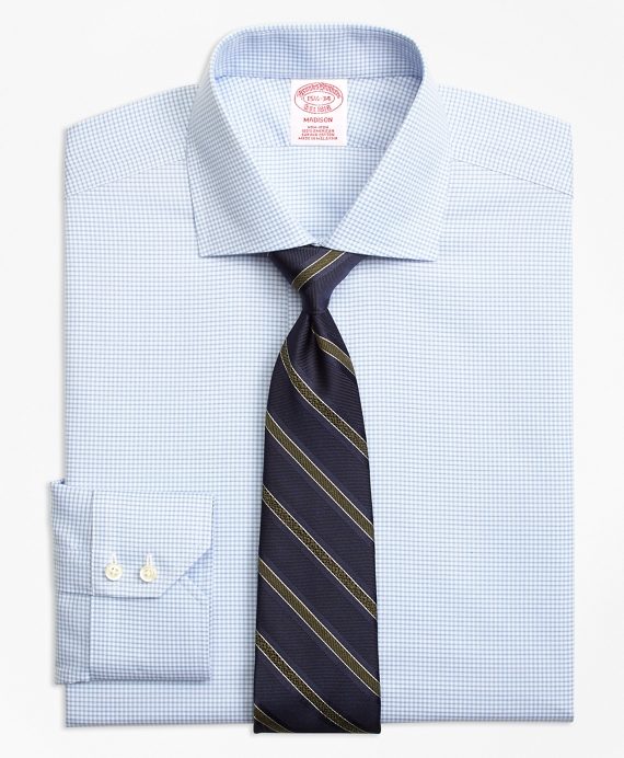 Madison Classic-Fit Dress Shirt, Non-Iron Micro-Check Light Blue