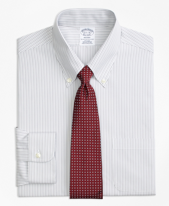 Regent Fitted Dress Shirt, Non-Iron Tonal Stripe Grey