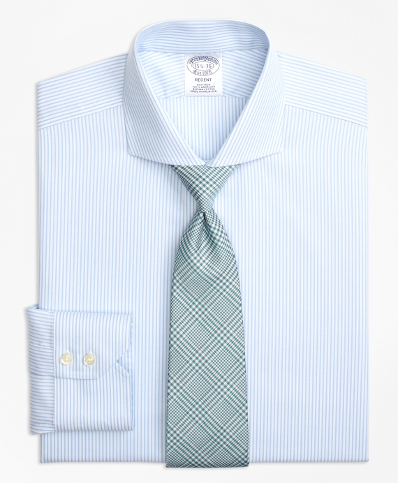 Regent Fitted Dress Shirt, Non-Iron Alternating Stripe Aqua