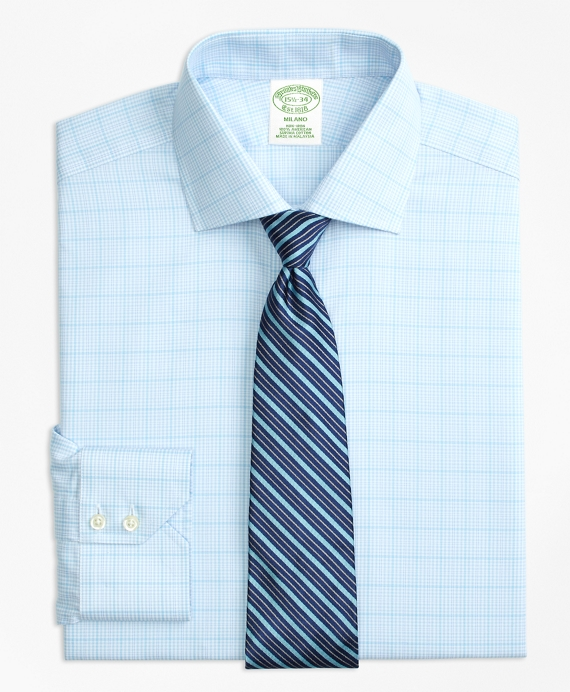 Milano Slim-Fit Dress Shirt, Non-Iron Houndstooth Overcheck Aqua